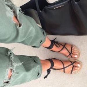 Black leather wrap Grecian sandals